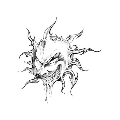 Evil Sun Art Design Water Transfer Temporary Tattoo(fake Tattoo) Stickers NO.11569