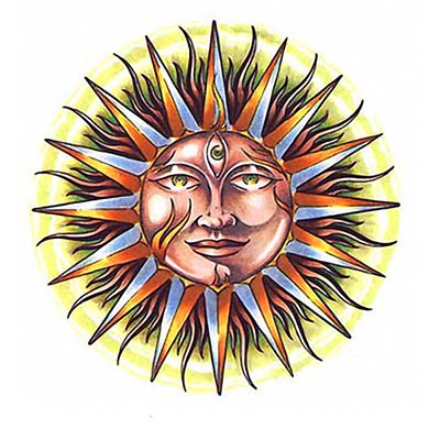 Sun Design Water Transfer Temporary Tattoo(fake Tattoo) Stickers NO.11577