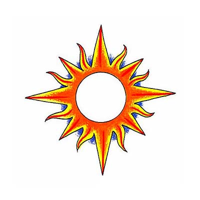 Sun Design Water Transfer Temporary Tattoo(fake Tattoo) Stickers NO.11579