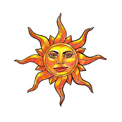Sun Face Design Water Transfer Temporary Tattoo(fake Tattoo) Stickers NO.11572