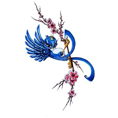 Cherry Blossom Swallow Design Water Transfer Temporary Tattoo(fake Tattoo) Stickers NO.11582