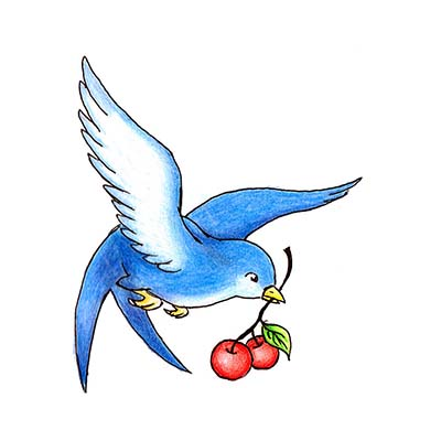 Cherry Swallow Design Water Transfer Temporary Tattoo(fake Tattoo) Stickers NO.11583