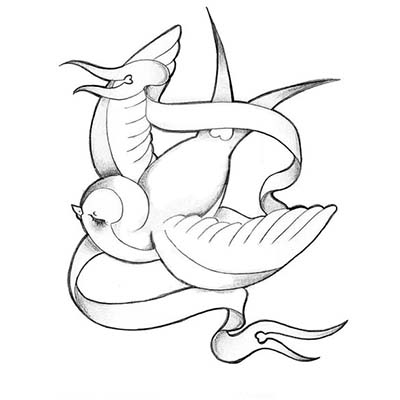 Grey Swallow Design Water Transfer Temporary Tattoo(fake Tattoo) Stickers NO.11589