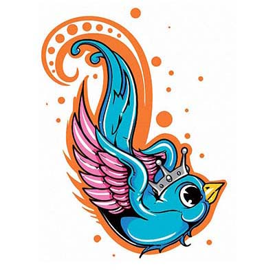 Swallow Crown Design Water Transfer Temporary Tattoo(fake Tattoo) Stickers NO.11595