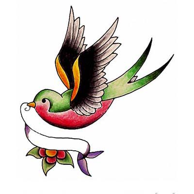 Swallow Design Water Transfer Temporary Tattoo(fake Tattoo) Stickers NO.11594