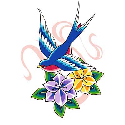 Swallow Design Water Transfer Temporary Tattoo(fake Tattoo) Stickers NO.11600