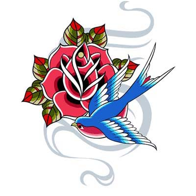 Swallow Rose Design Water Transfer Temporary Tattoo(fake Tattoo) Stickers NO.11598