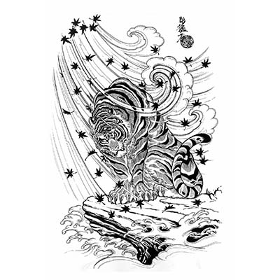 Black And White Tiger Tattoo Design Water Transfer Temporary Tattoo(fake Tattoo) Stickers NO.11604
