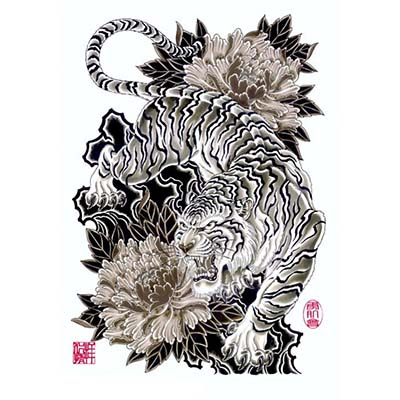 Japanese Style Tiger On Ribs Design Water Transfer Temporary Tattoo(fake Tattoo) Stickers NO.11613