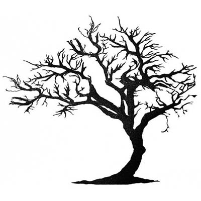 Black Ink Tree Design Water Transfer Temporary Tattoo(fake Tattoo) Stickers NO.11624