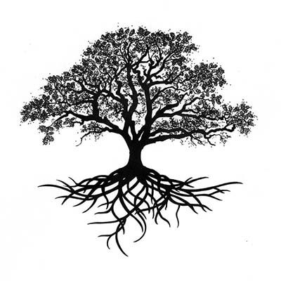 Black n Grey Tree Design Water Transfer Temporary Tattoo(fake Tattoo) Stickers NO.11625