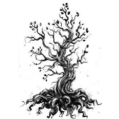 Grey And Black Tree Design Water Transfer Temporary Tattoo(fake Tattoo) Stickers NO.11629