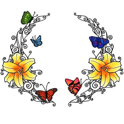 Feminine Tribal Butterfly Design Water Transfer Temporary Tattoo(fake Tattoo) Stickers NO.11638