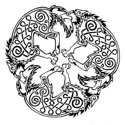 Celtic Wolves Design Water Transfer Temporary Tattoo(fake Tattoo) Stickers NO.11700