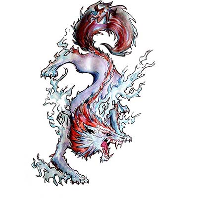 Colorful Wolf Design Water Transfer Temporary Tattoo(fake Tattoo) Stickers NO.11701