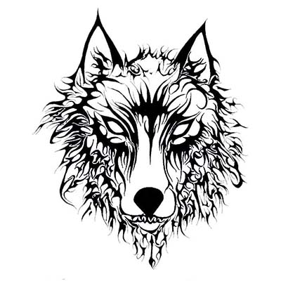 Evil Wolf Design Water Transfer Temporary Tattoo(fake Tattoo) Stickers NO.11703