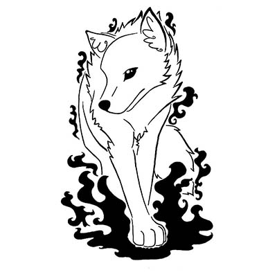 Feminine Wolf Design Water Transfer Temporary Tattoo(fake Tattoo) Stickers NO.11706
