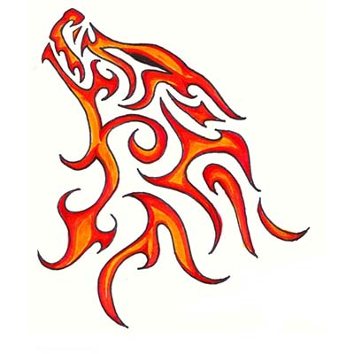 Fiery Wolf Design Water Transfer Temporary Tattoo(fake Tattoo) Stickers NO.11707
