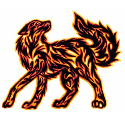 Flaming Wolf Tribal Design Water Transfer Temporary Tattoo(fake Tattoo) Stickers NO.11708