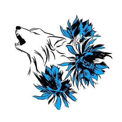 Howling Wolf Design Water Transfer Temporary Tattoo(fake Tattoo) Stickers NO.11709