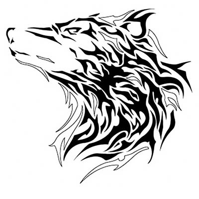 Tribal Wolf Head Design Water Transfer Temporary Tattoo(fake Tattoo) Stickers NO.11713