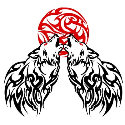 Tribal Wolf Moon Design Water Transfer Temporary Tattoo(fake Tattoo) Stickers NO.11714