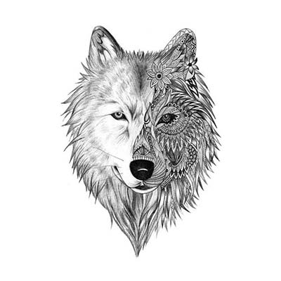 Wolf Design Water Transfer Temporary Tattoo(fake Tattoo) Stickers NO.11686