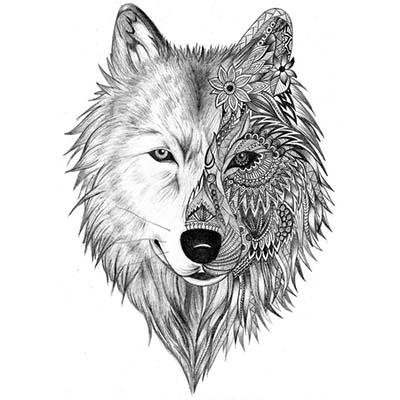 Wolf Design Water Transfer Temporary Tattoo(fake Tattoo) Stickers NO.11687