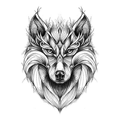 Wolf Design Water Transfer Temporary Tattoo(fake Tattoo) Stickers NO.11690