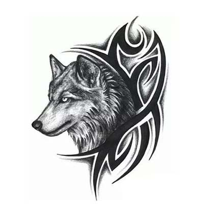 Wolf Design Water Transfer Temporary Tattoo(fake Tattoo) Stickers NO.11691