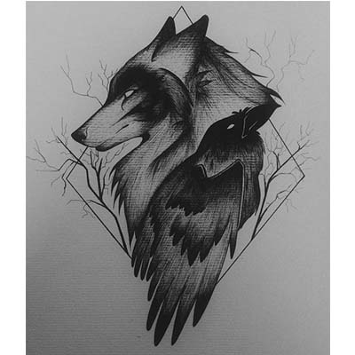 Wolf Design Water Transfer Temporary Tattoo(fake Tattoo) Stickers NO.11694