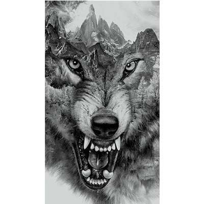 Wolf Design Water Transfer Temporary Tattoo(fake Tattoo) Stickers NO.11698
