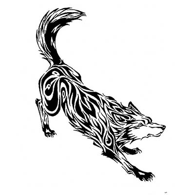 Wolf Design Water Transfer Temporary Tattoo(fake Tattoo) Stickers NO.11731