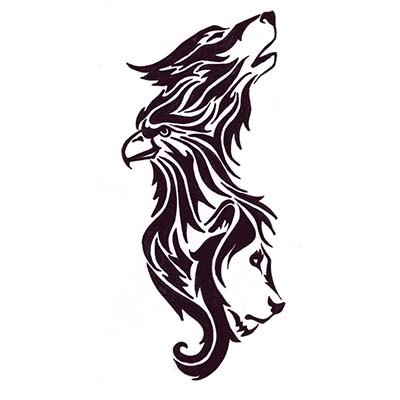 Wolf Eagle Lion Design Water Transfer Temporary Tattoo(fake Tattoo) Stickers NO.11716