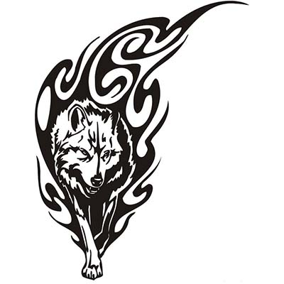 Wolf Flames Tribal Design Water Transfer Temporary Tattoo(fake Tattoo) Stickers NO.11718