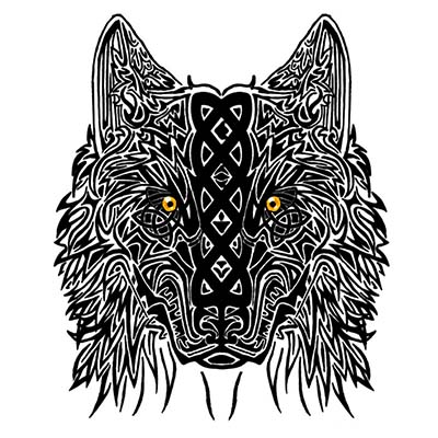 Wolf Head Design Water Transfer Temporary Tattoo(fake Tattoo) Stickers NO.11719