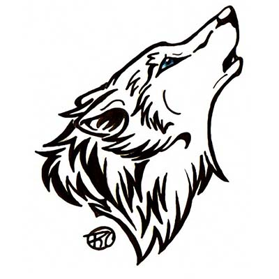 Wolf Head Design Water Transfer Temporary Tattoo(fake Tattoo) Stickers NO.11721