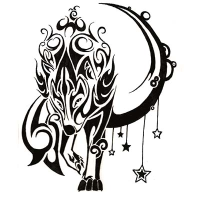 Wolf Stars Design Water Transfer Temporary Tattoo(fake Tattoo) Stickers NO.11727