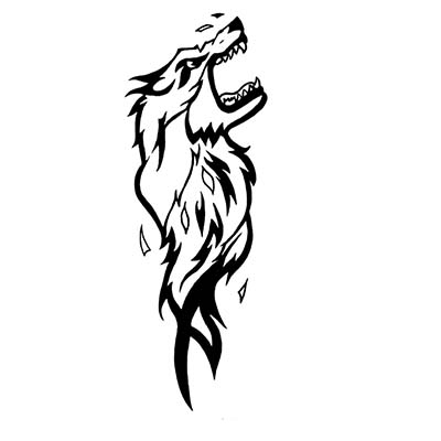 Wolf Tribal Design Water Transfer Temporary Tattoo(fake Tattoo) Stickers NO.11732