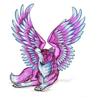 Wolf Wings Design Water Transfer Temporary Tattoo(fake Tattoo) Stickers NO.11736