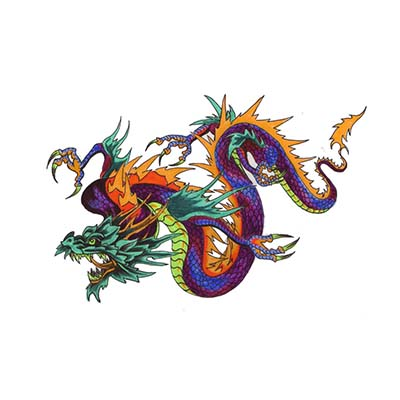 Angry Chinese Dragon For Men designs Fake Temporary Water Transfer Tattoo Stickers NO.10235