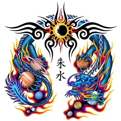 Chinese Dragon On Stomach designs Fake Temporary Water Transfer Tattoo Stickers NO.10248