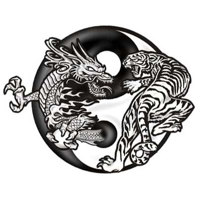 Chinese Dragon With Ying Yang Design Fake Temporary Water Transfer Tattoo Stickers NO.10250