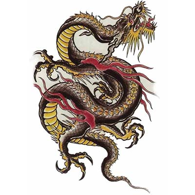 Chinese Dragon designs Fake Temporary Water Transfer Tattoo Stickers NO.10267