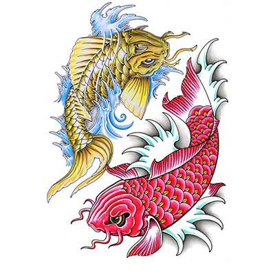 Chinese Fish Tattoo Design On Wrist Fake Temporary Water Transfer Tattoo Stickers NO.10252
