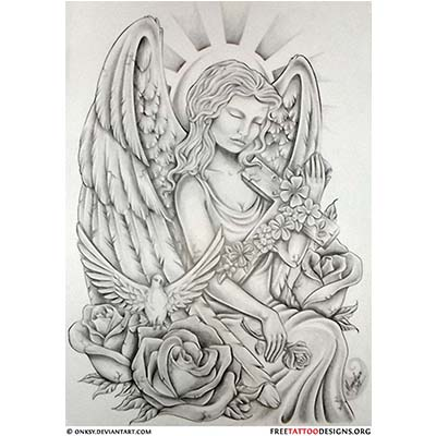 Christian Angel Woman With Cross On Shoulder designs Fake Temporary Water Transfer Tattoo Stickers NO.10278