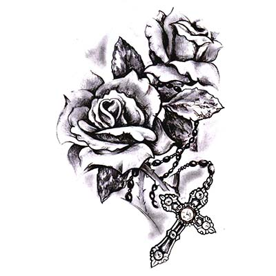 Christian Cross with rose designs Fake Temporary Water Transfer Tattoo Stickers NO.10284