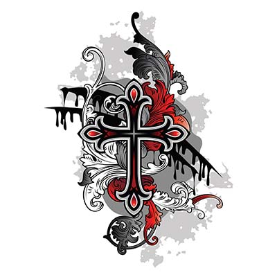 Christian Gothic cross designs Fake Temporary Water Transfer Tattoo Stickers NO.10290