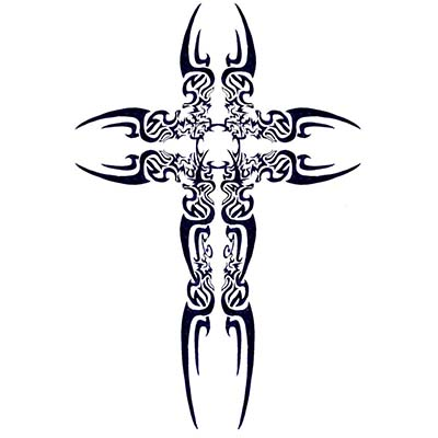 Christian Tribal art cross designs Fake Temporary Water Transfer Tattoo Stickers NO.10303