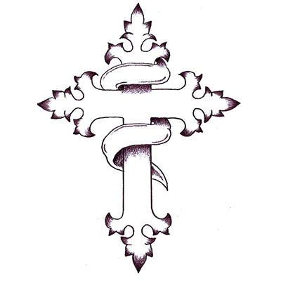 Cross with Tribal Christian designs Fake Temporary Water Transfer Tattoo Stickers NO.10285